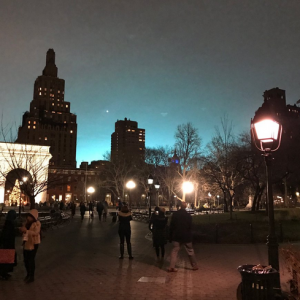 """Eerie Blue Sky"" at Washington Square Park After Con Ed Equipment ""Malfunction"" in Queens"