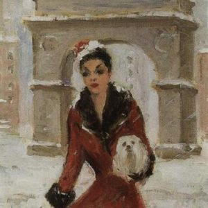Elegant Lady in Red & Dog Amidst Snowy Washington Square Arch, 1950s by Guy Carleton Wiggins