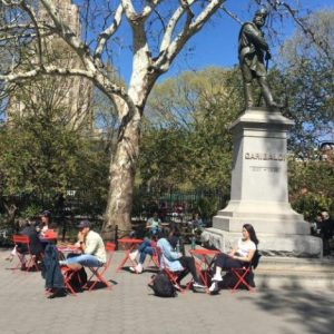 New Seating Installed Near Garibaldi Statue  | Washington Square Park