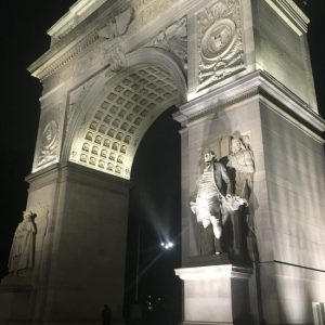 The Washington Square Arch + Fountain On, Rainy Night