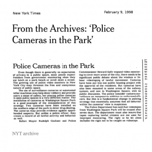 "A Look Back: New York Times Editorial 21 Years Ago – ""Police Cameras in the Park"" (Series: Part 1)"