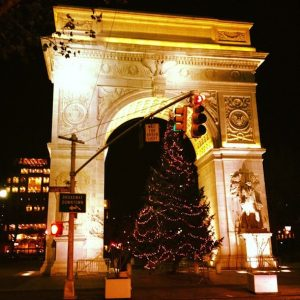 washington square park christmas tree under the Arch
