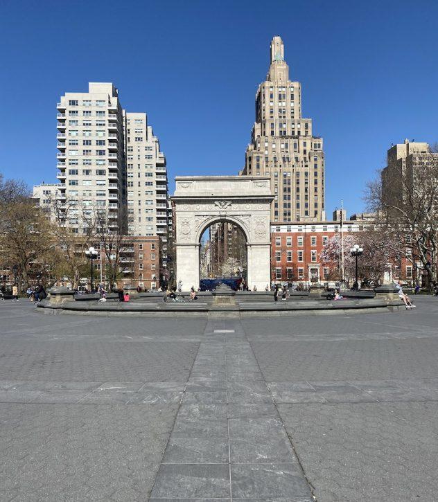 Social distancing at Washington Square Park Amidst Coronavirus Pandemic