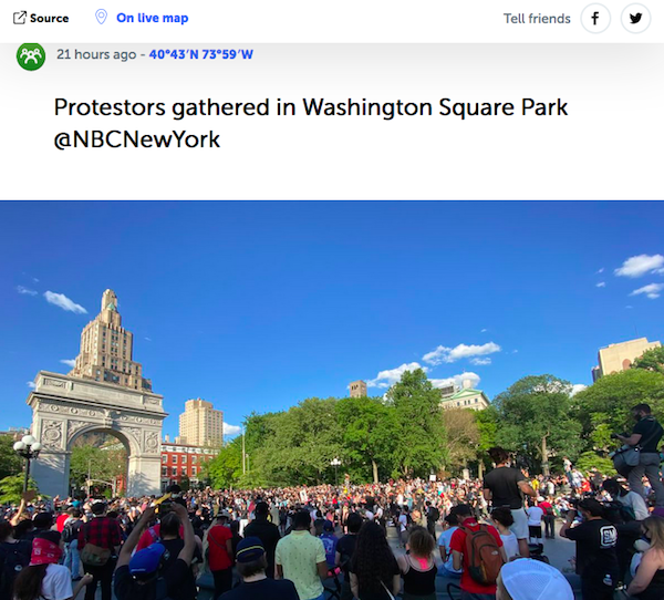 Protesters Meet Up Washington Square Park NYC George Floyd Protests